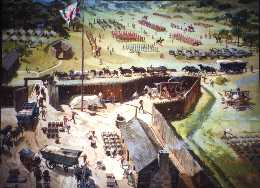 View of troops assembling at Fort Bedford during the Spring of 1758.